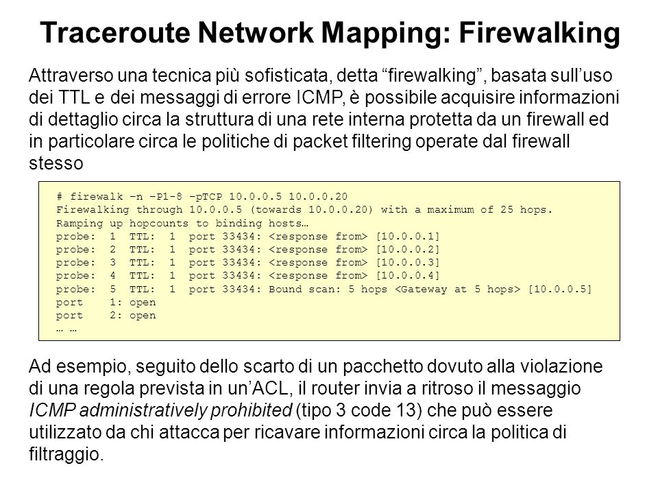 Traceroute Network Mapping: Firewalking