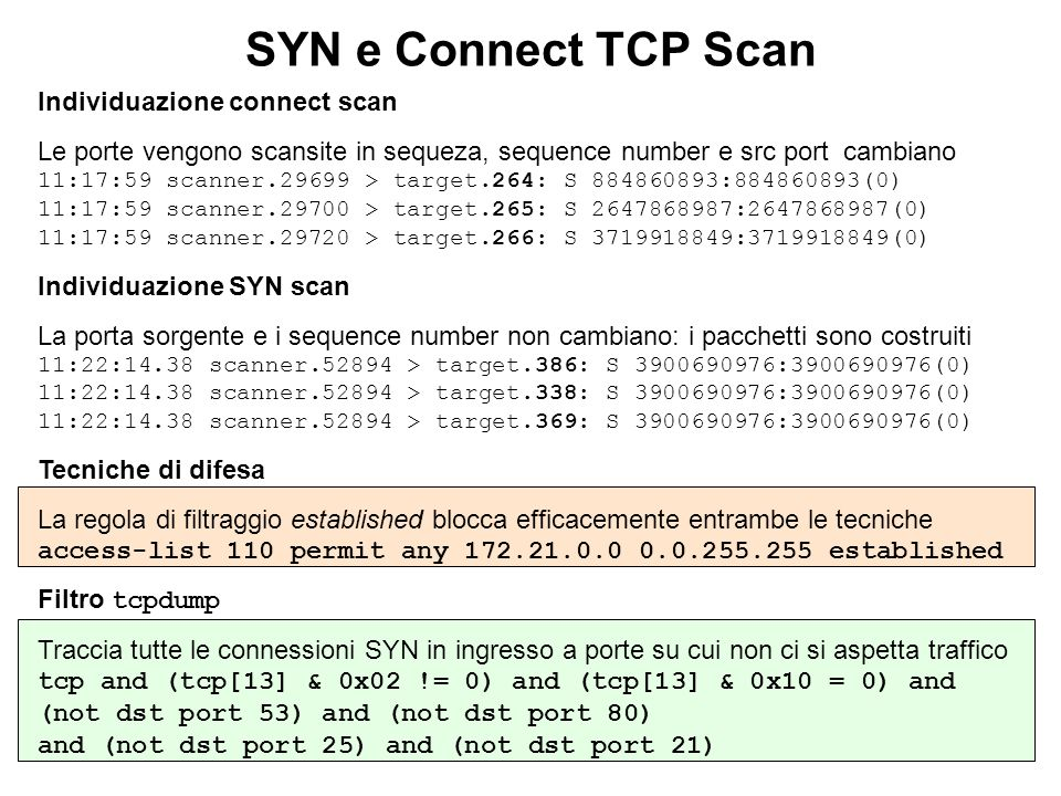 SYN e Connect TCP Scan Individuazione connect scan