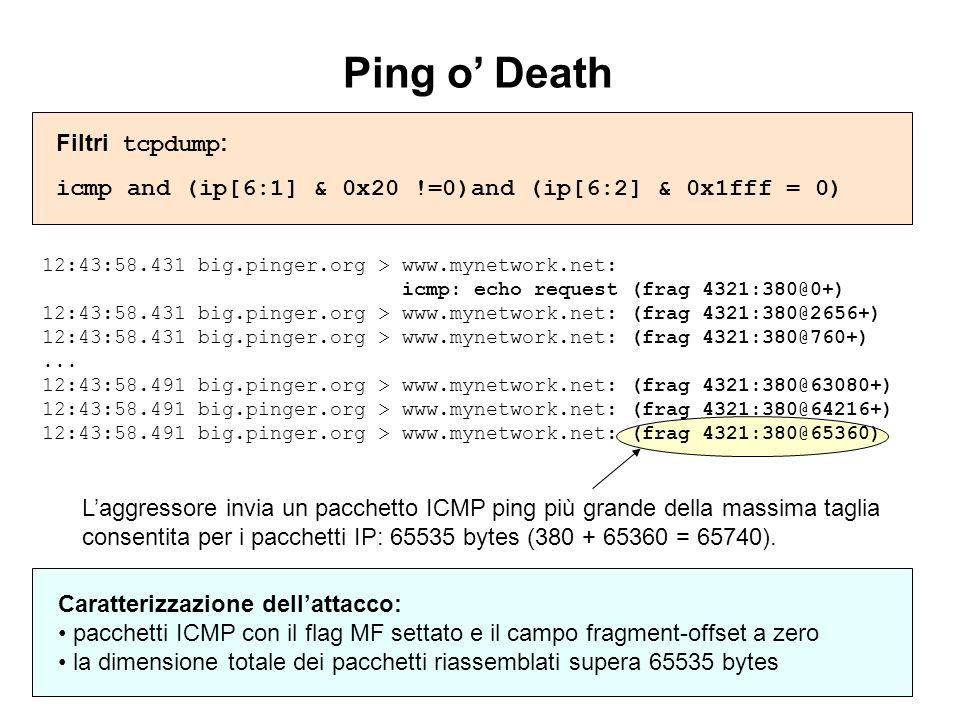 Ping o' Death Filtri tcpdump: