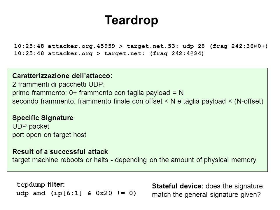 Teardrop Caratterizzazione dell'attacco: 2 frammenti di pacchetti UDP: