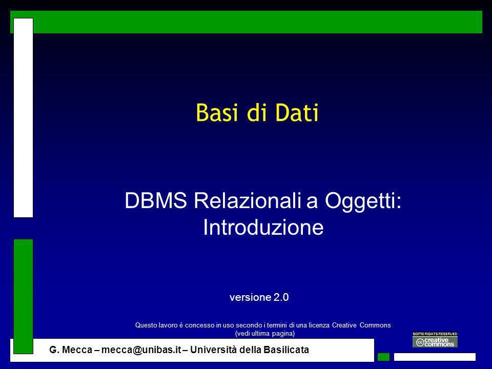 DBMS Relazionali a Oggetti: Introduzione