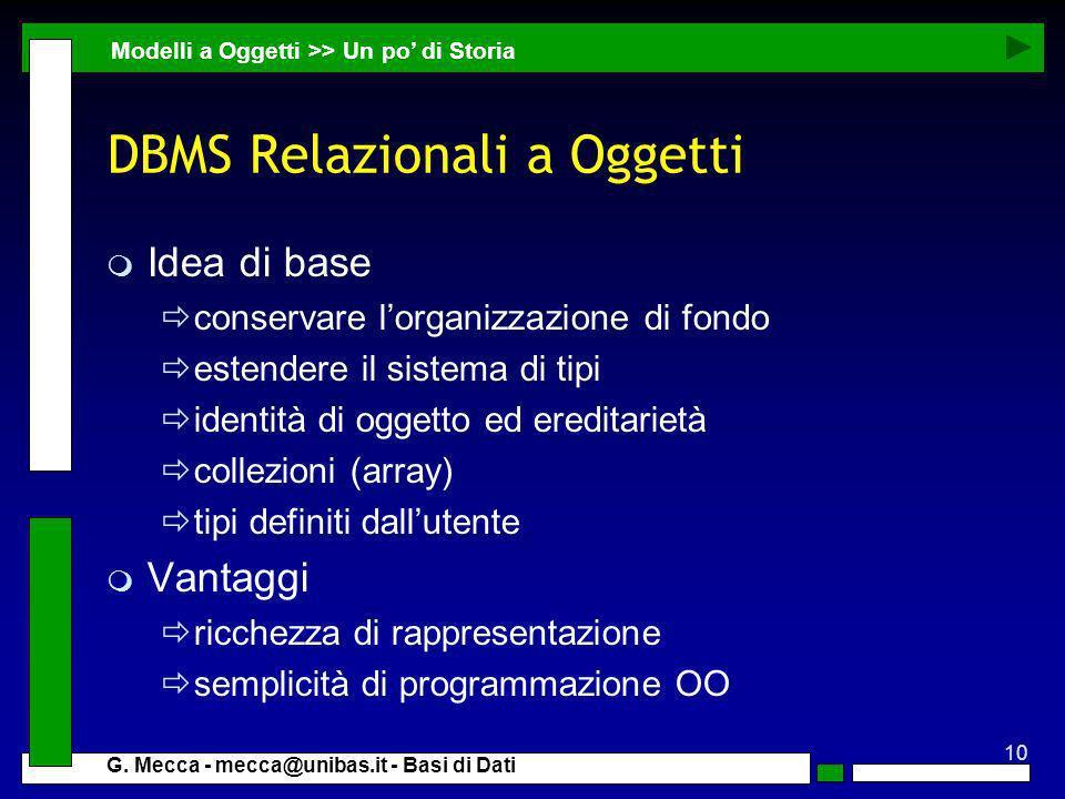 DBMS Relazionali a Oggetti