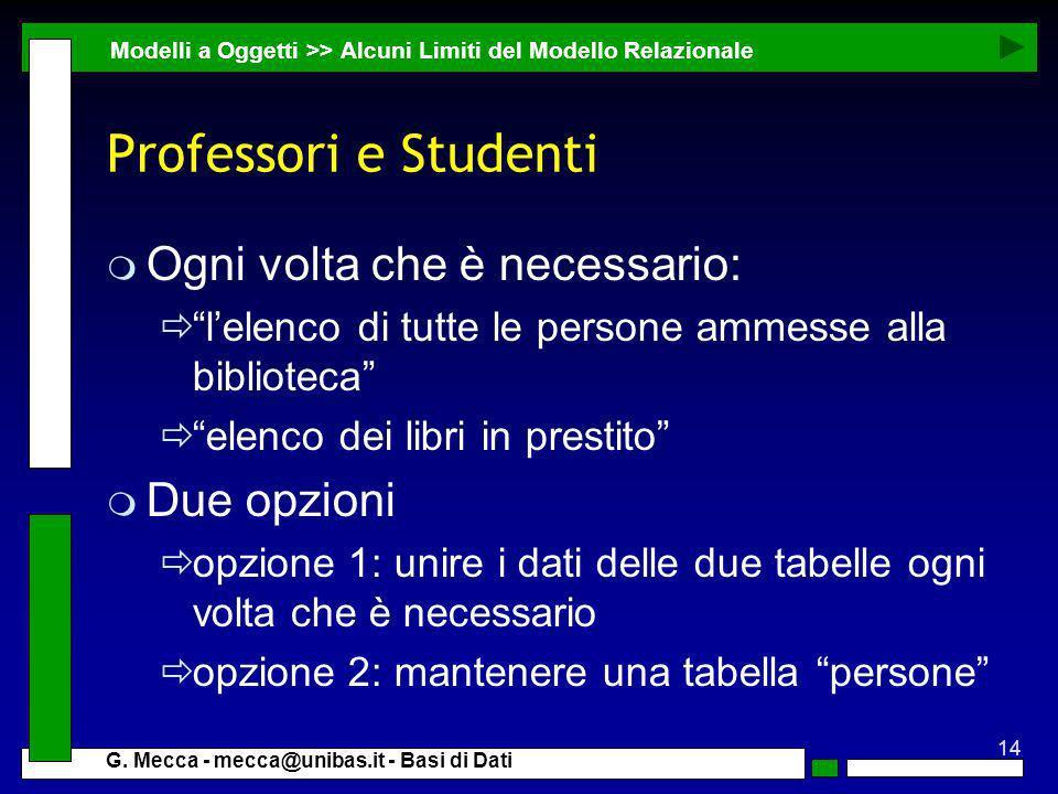 Professori e Studenti Ogni volta che è necessario: Due opzioni