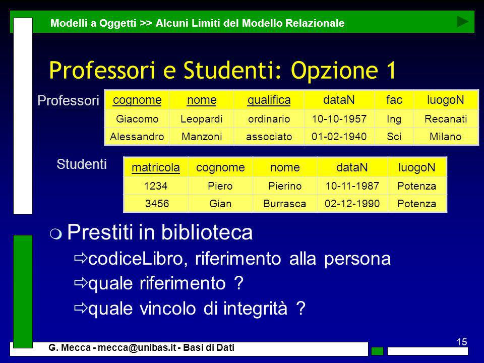 Professori e Studenti: Opzione 1