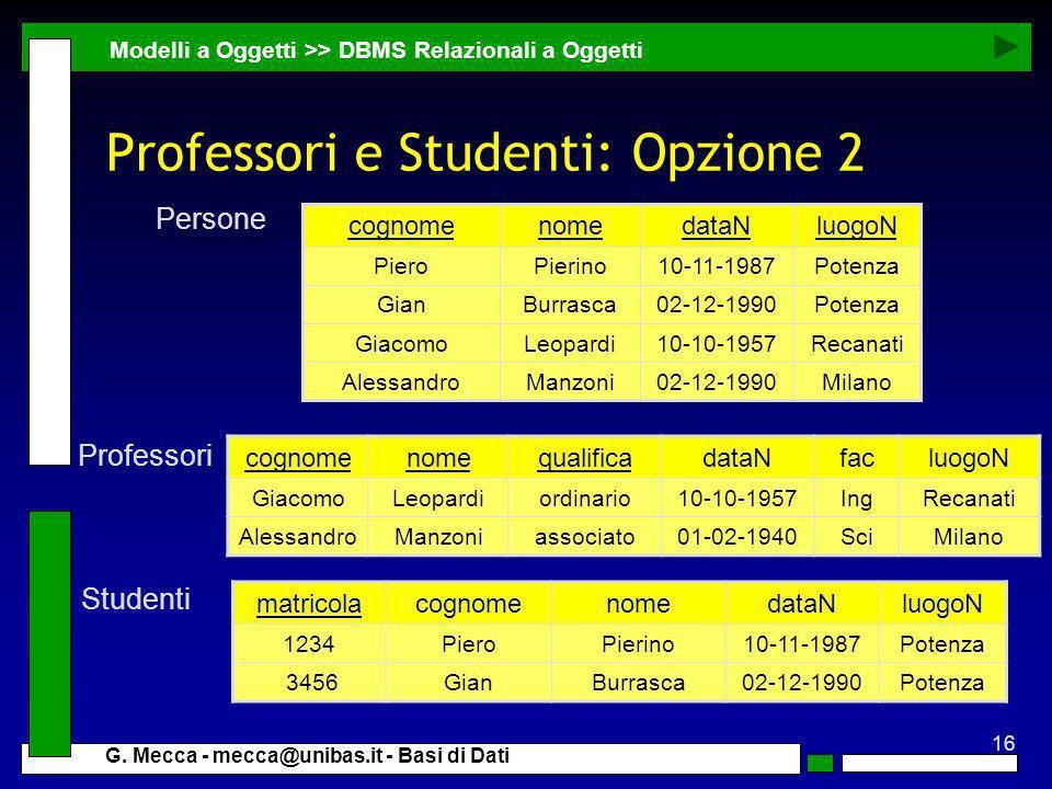 Professori e Studenti: Opzione 2
