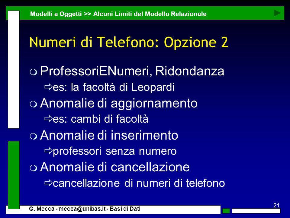 Numeri di Telefono: Opzione 2