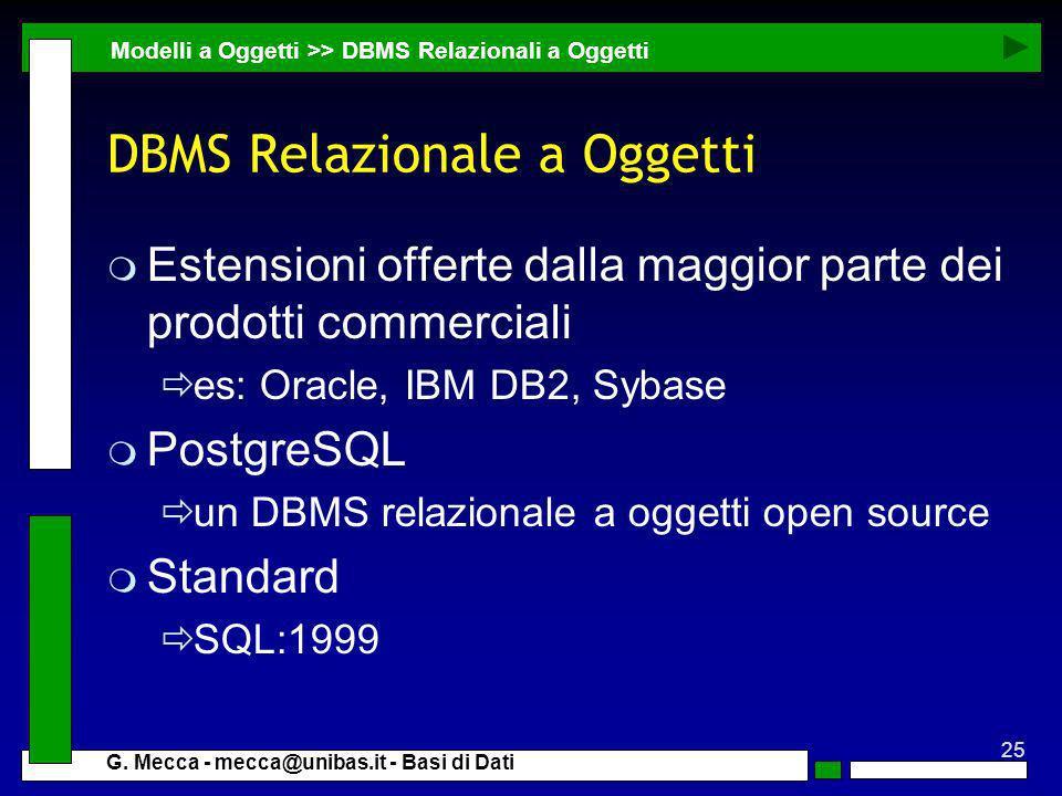 DBMS Relazionale a Oggetti
