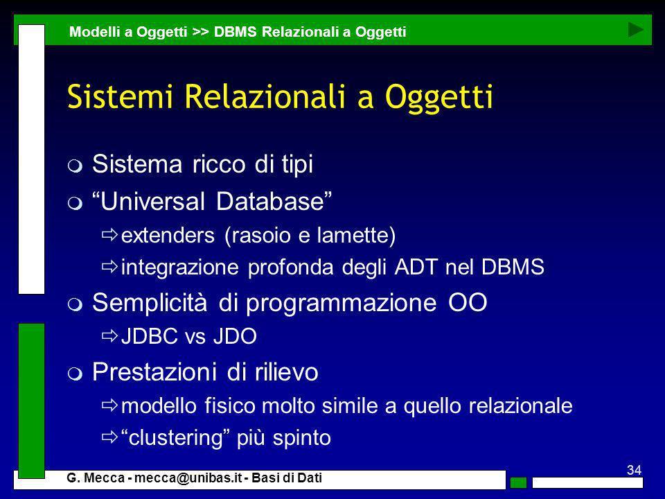 Sistemi Relazionali a Oggetti