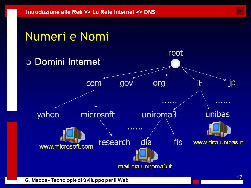 Numeri e Nomi Domini Internet com gov org it jp uniroma3 unibas dia