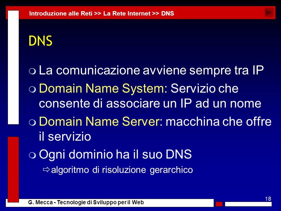 DNS La comunicazione avviene sempre tra IP