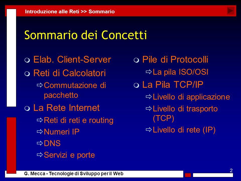 Sommario dei Concetti Elab. Client-Server Reti di Calcolatori
