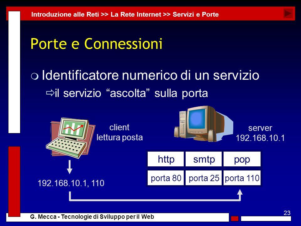 Porte e Connessioni Identificatore numerico di un servizio