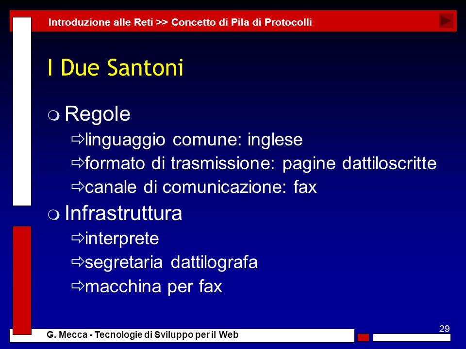 I Due Santoni Regole Infrastruttura linguaggio comune: inglese