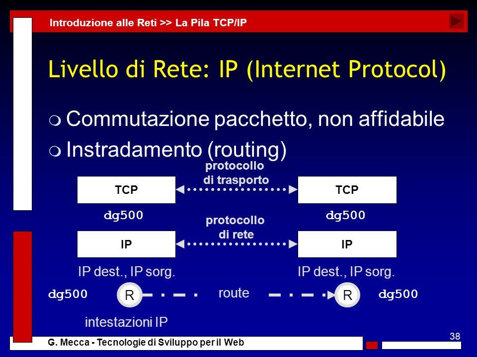 Livello di Rete: IP (Internet Protocol)