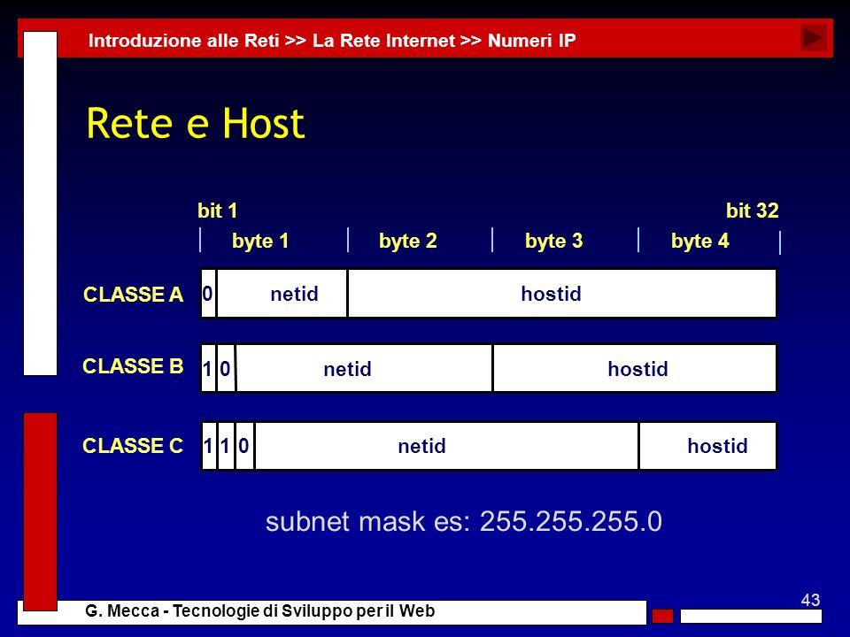 Rete e Host subnet mask es: 255.255.255.0 byte 1 byte 4 byte 3 byte 2