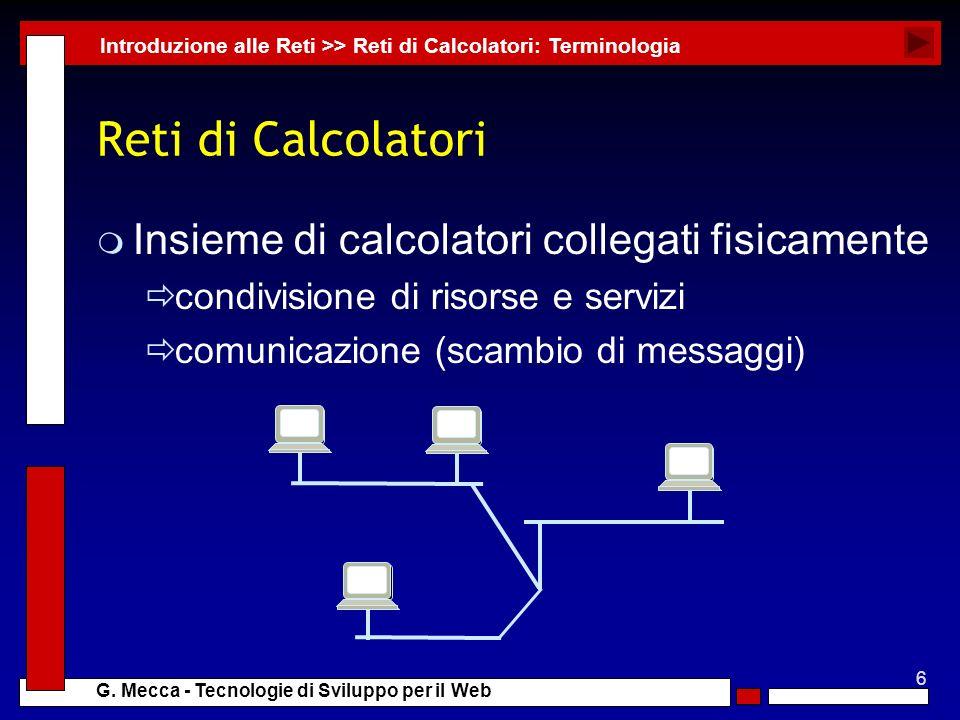 Reti di Calcolatori Insieme di calcolatori collegati fisicamente