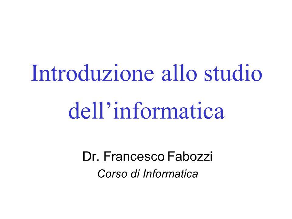 Introduzione allo studio dell'informatica