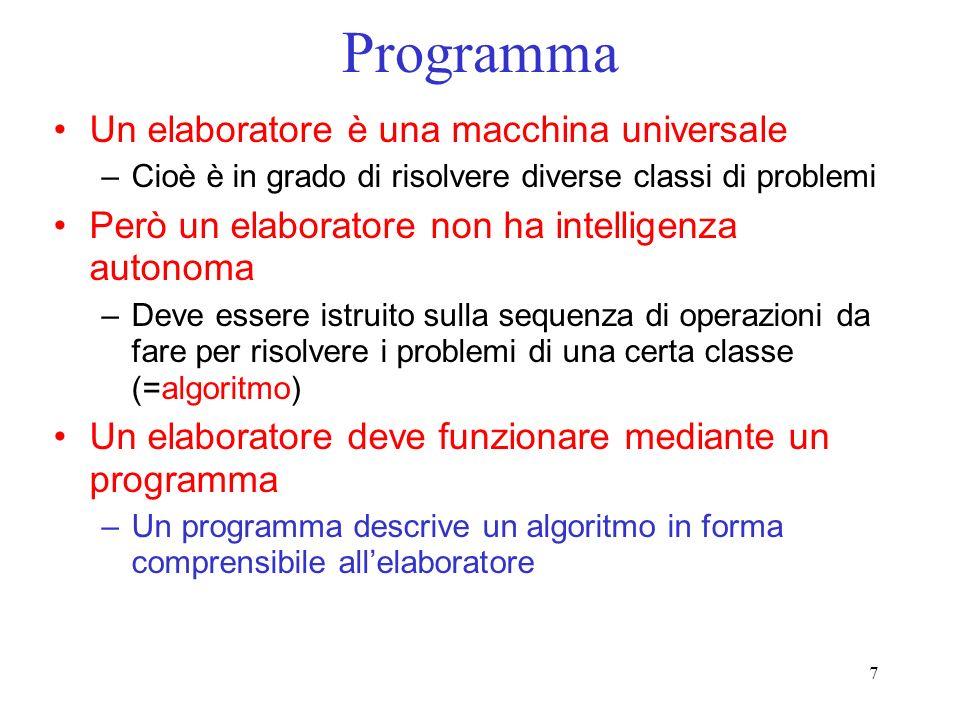 Programma Un elaboratore è una macchina universale