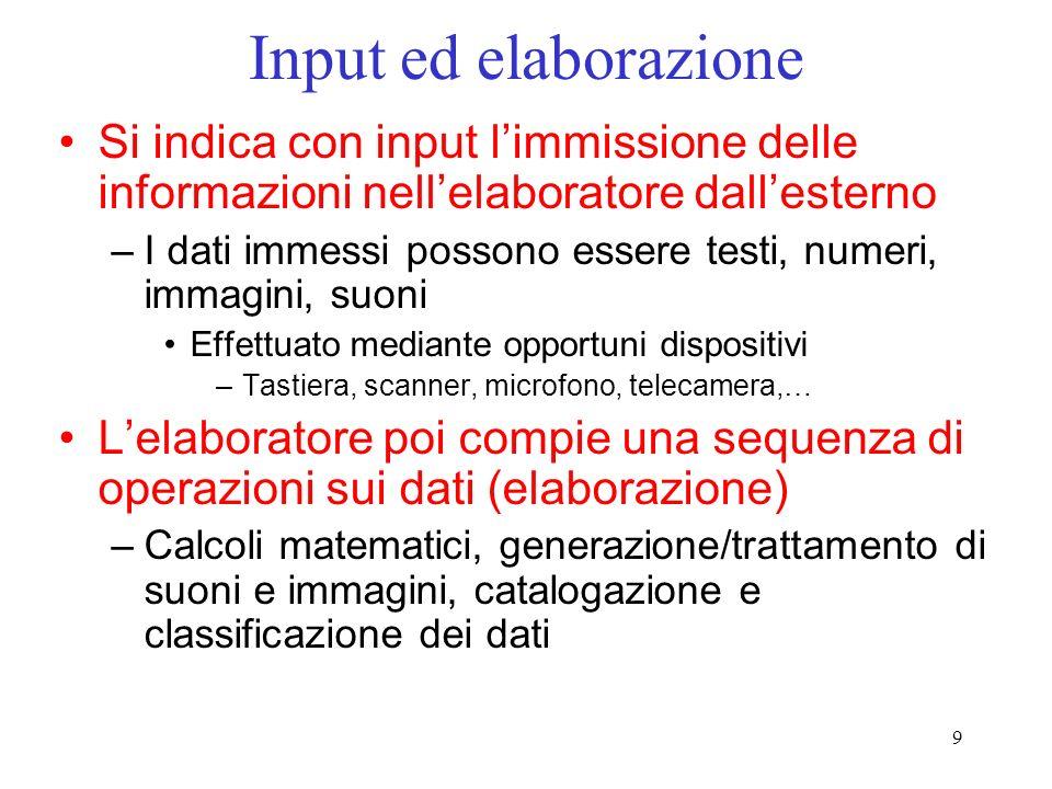 Input ed elaborazione Si indica con input l'immissione delle informazioni nell'elaboratore dall'esterno.