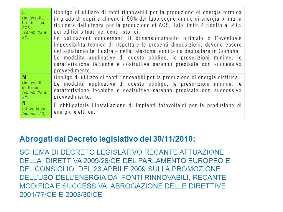 Abrogati dal Decreto legislativo del 30/11/2010: