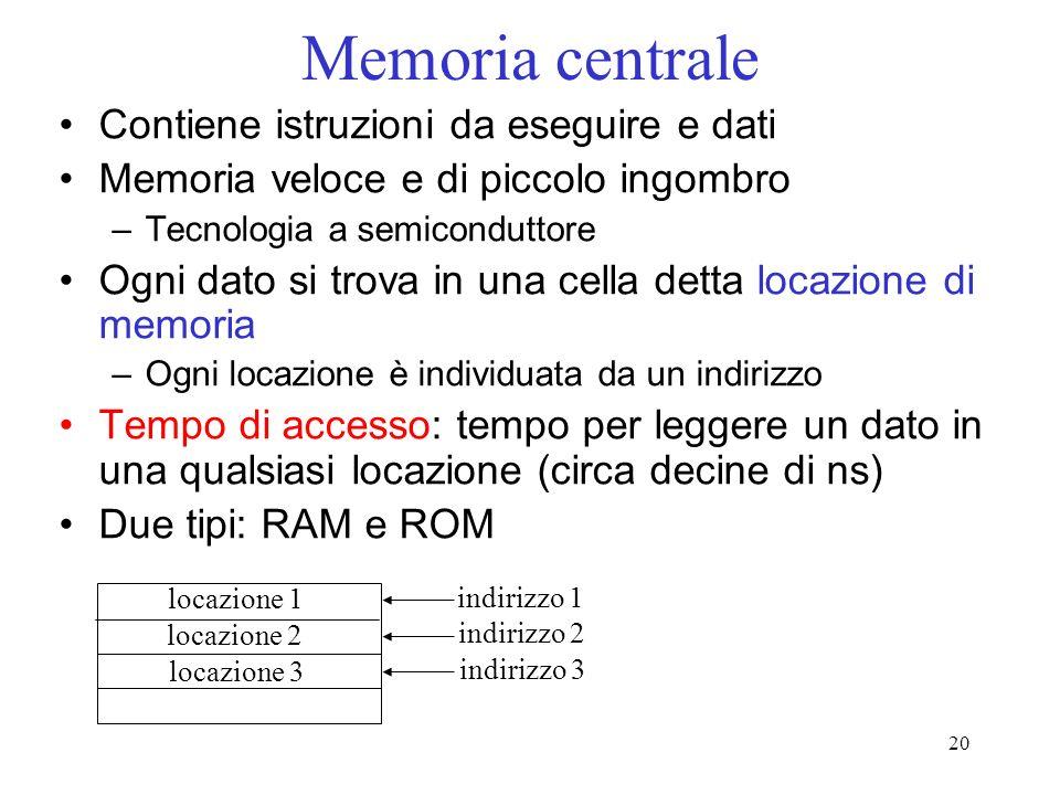 Memoria centrale Contiene istruzioni da eseguire e dati