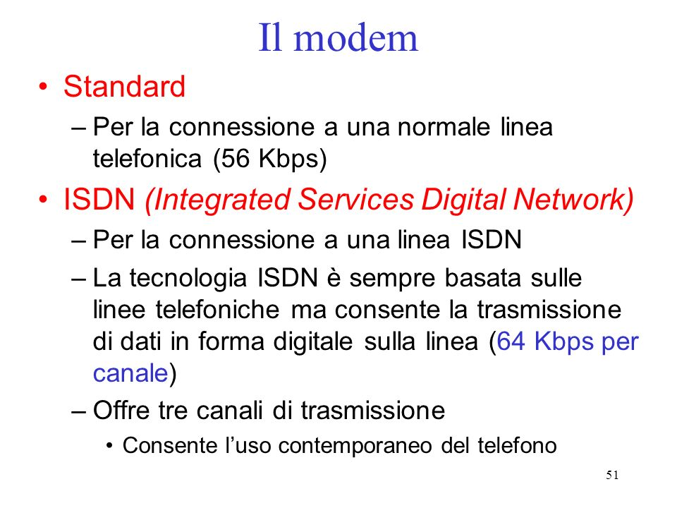 Il modem Standard ISDN (Integrated Services Digital Network)