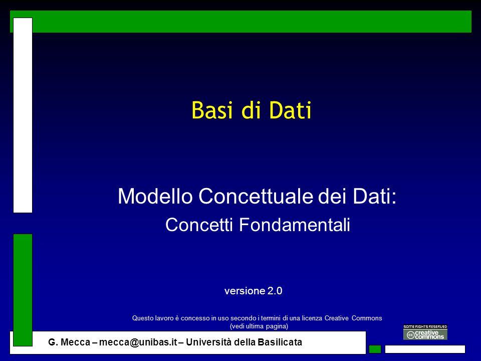 Modello Concettuale dei Dati: Concetti Fondamentali