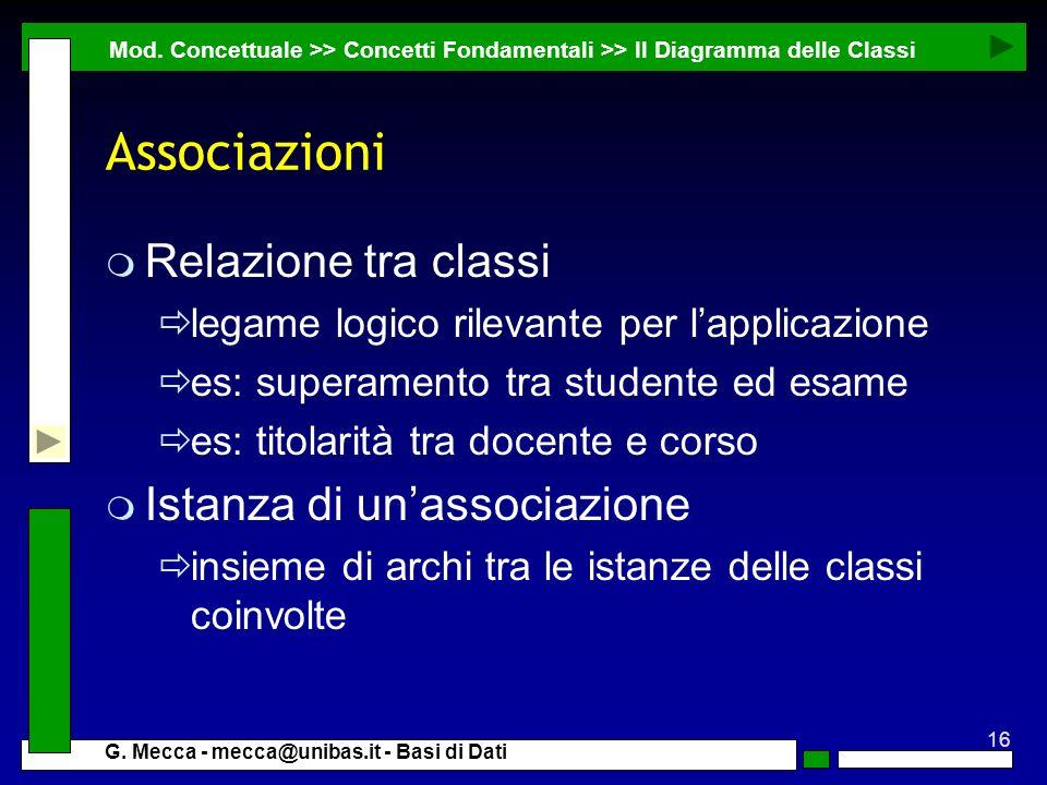 Associazioni Relazione tra classi Istanza di un'associazione