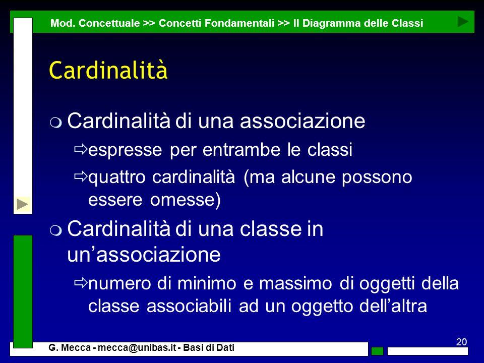 Cardinalità Cardinalità di una associazione