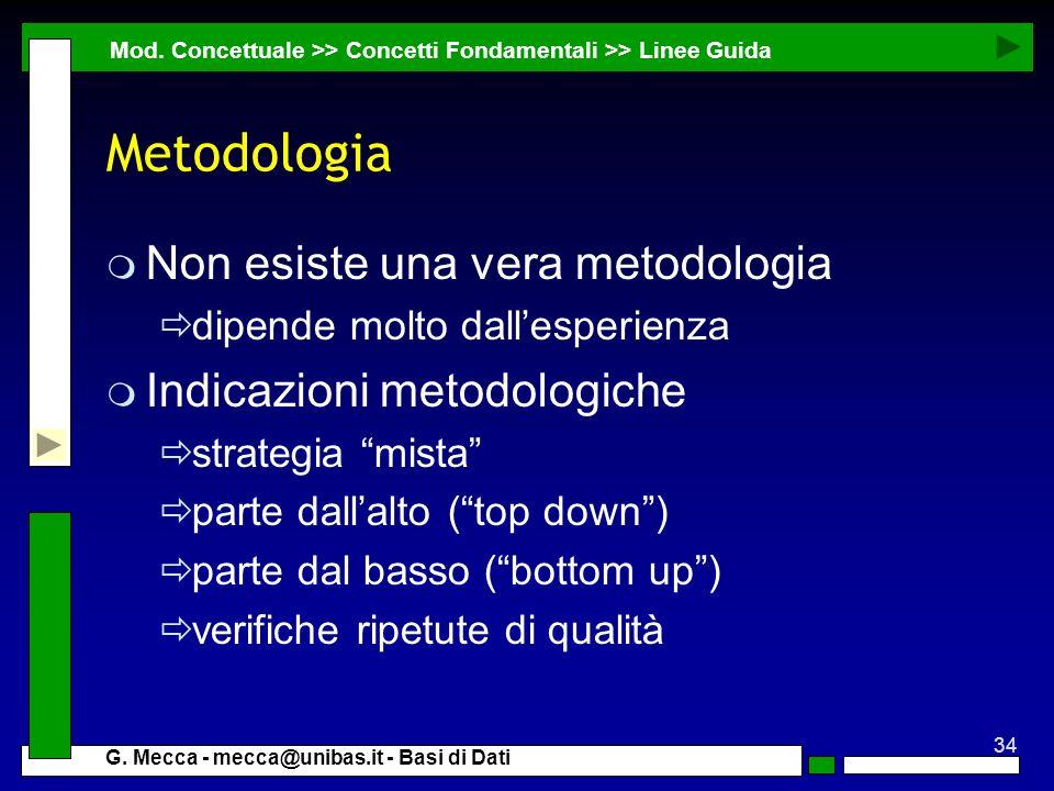 Metodologia Non esiste una vera metodologia Indicazioni metodologiche