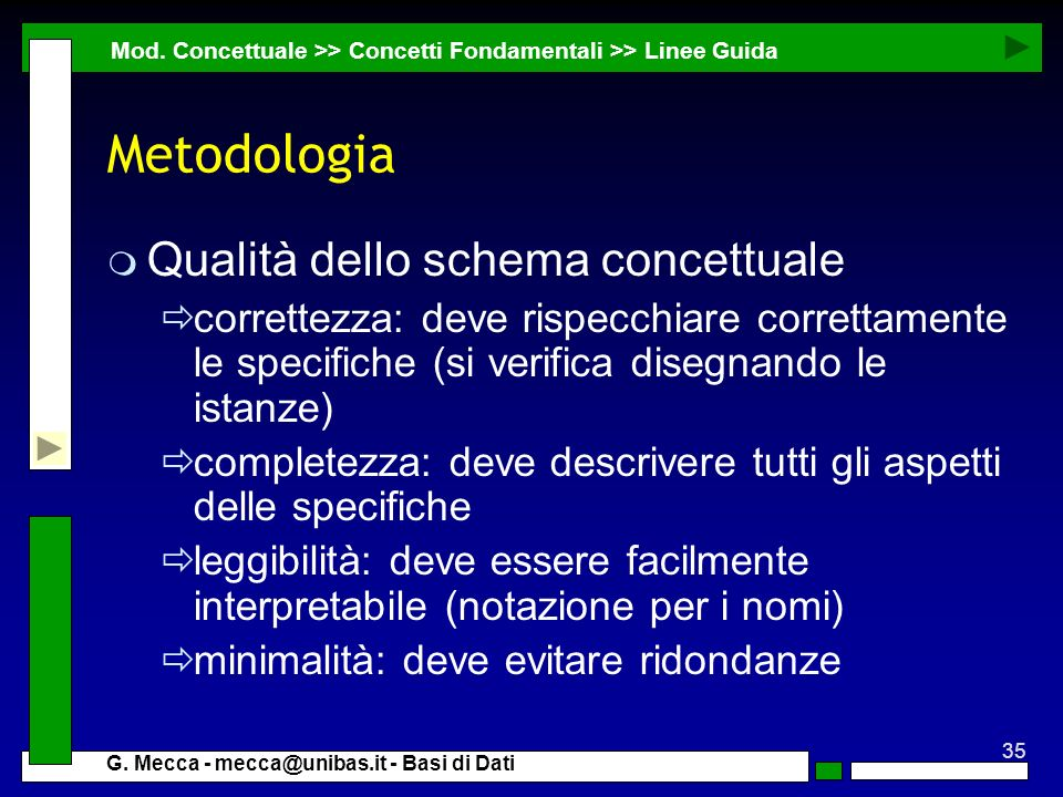 Metodologia Qualità dello schema concettuale