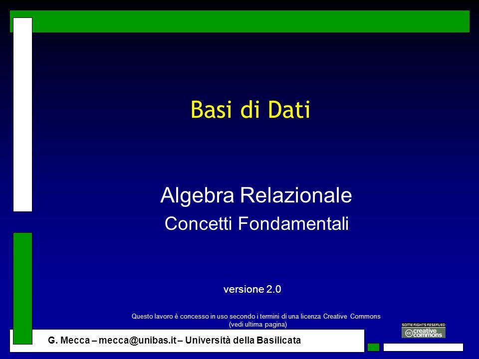 Algebra Relazionale Concetti Fondamentali