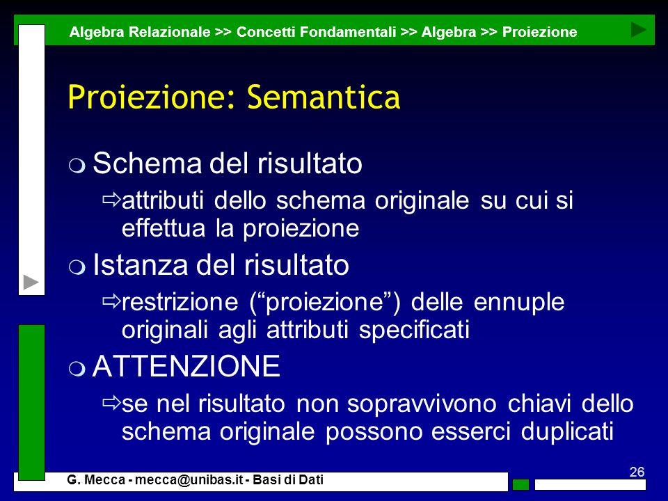 Proiezione: Semantica