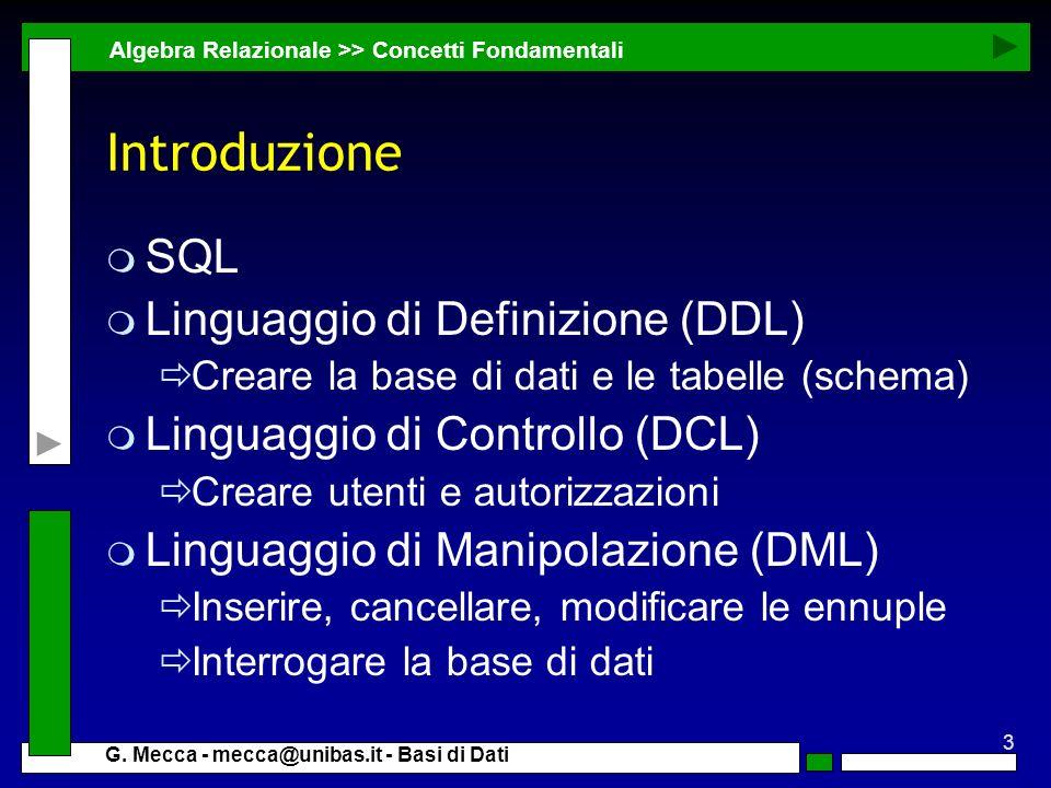 Introduzione SQL Linguaggio di Definizione (DDL)