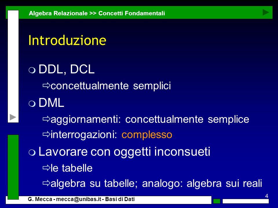 Introduzione DDL, DCL DML Lavorare con oggetti inconsueti
