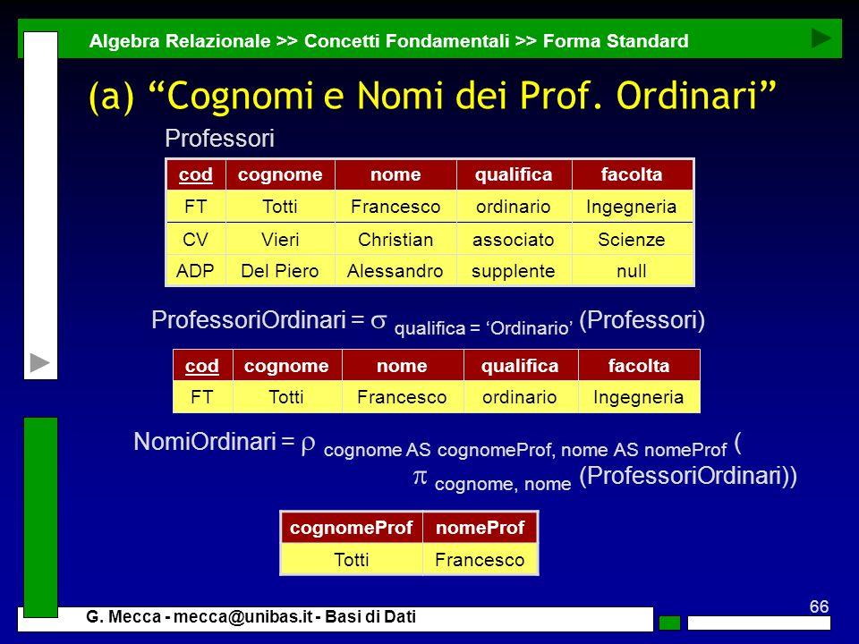 (a) Cognomi e Nomi dei Prof. Ordinari