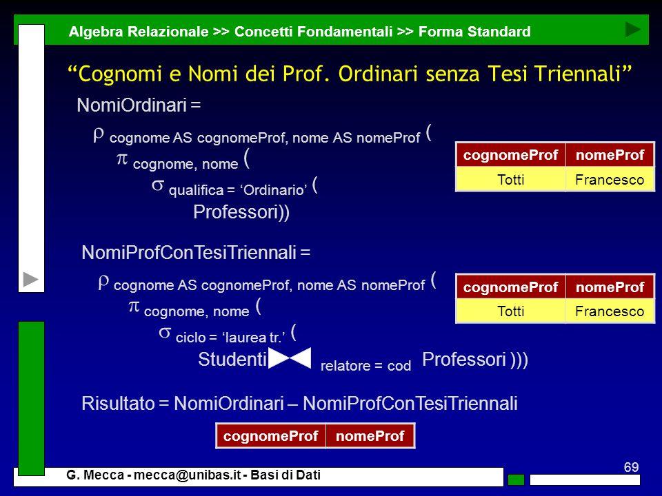Cognomi e Nomi dei Prof. Ordinari senza Tesi Triennali