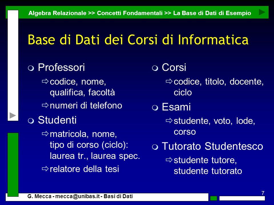 Base di Dati dei Corsi di Informatica
