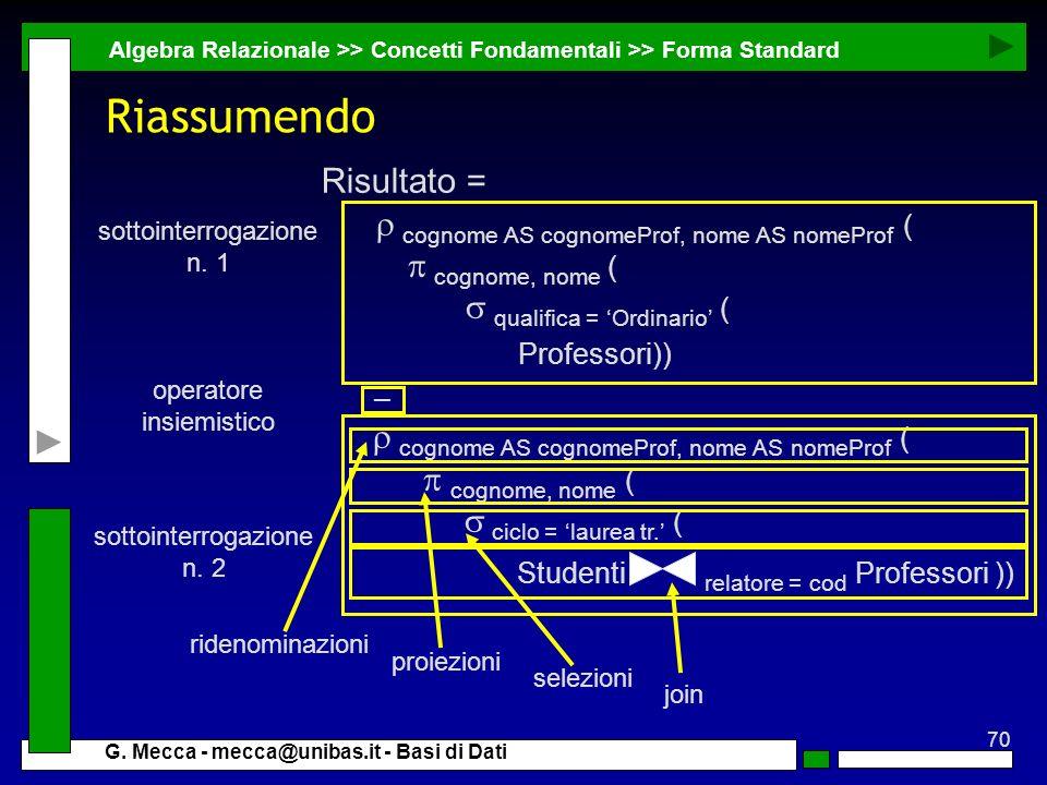 Riassumendo Risultato = p cognome, nome ( s qualifica = 'Ordinario' (