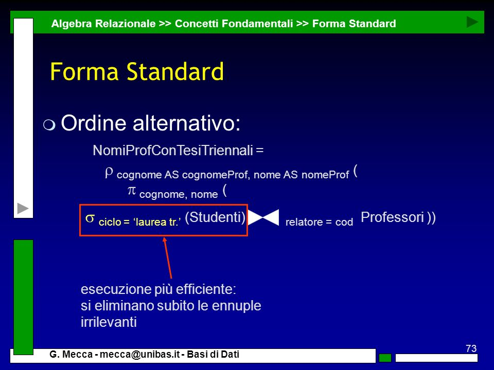 Forma Standard Ordine alternativo: