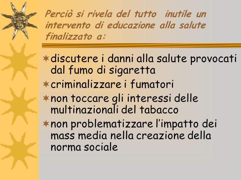 discutere i danni alla salute provocati dal fumo di sigaretta