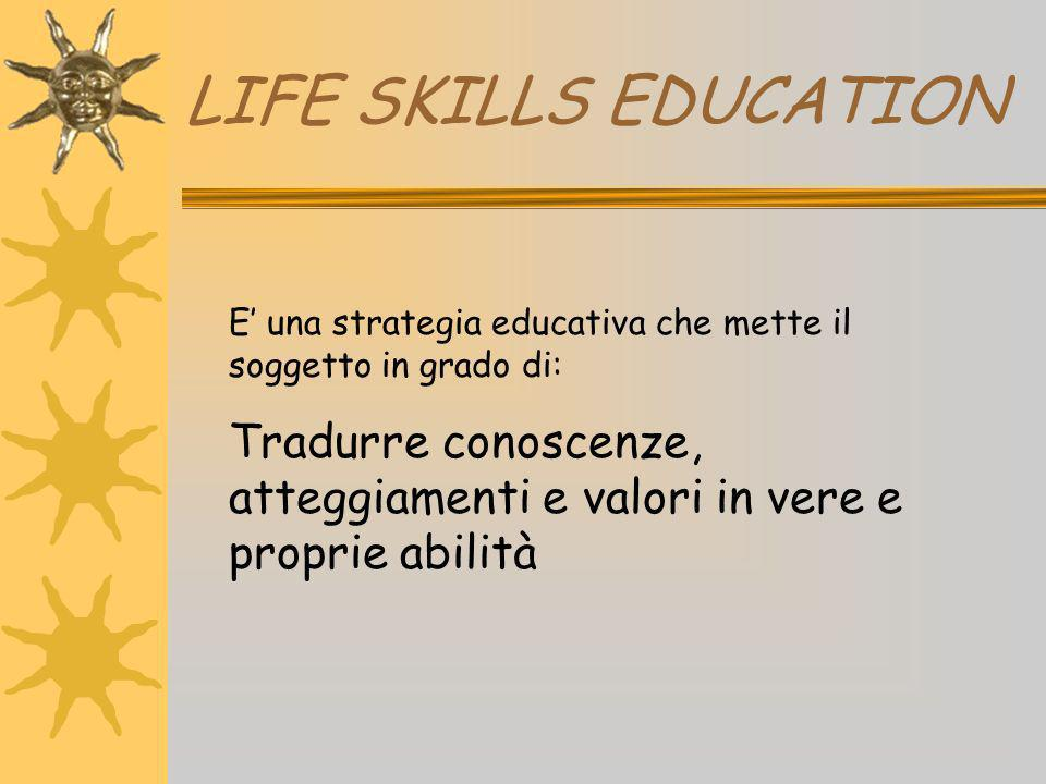 LIFE SKILLS EDUCATION E' una strategia educativa che mette il soggetto in grado di: