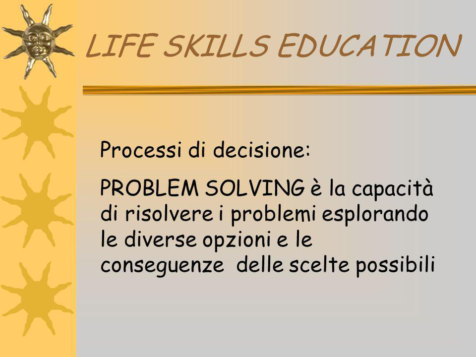 LIFE SKILLS EDUCATION Processi di decisione:
