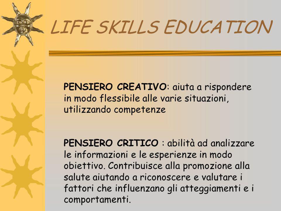 LIFE SKILLS EDUCATION PENSIERO CREATIVO: aiuta a rispondere in modo flessibile alle varie situazioni, utilizzando competenze.