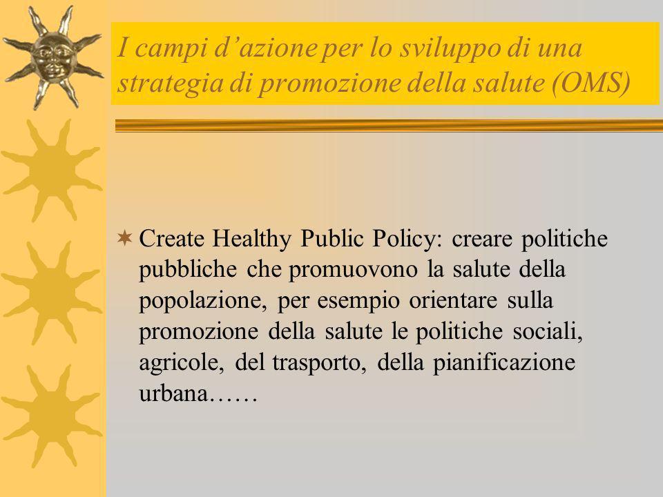 I campi d'azione per lo sviluppo di una strategia di promozione della salute (OMS)