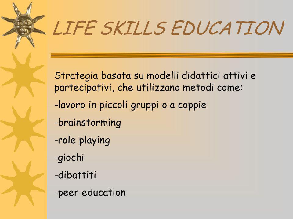 LIFE SKILLS EDUCATION Strategia basata su modelli didattici attivi e partecipativi, che utilizzano metodi come: