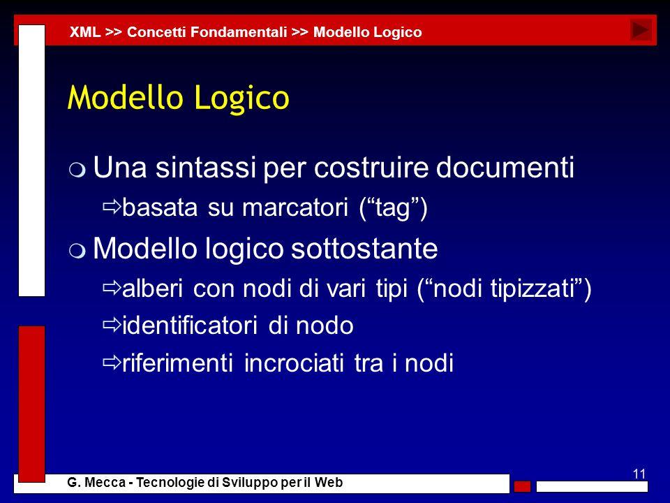 Modello Logico Una sintassi per costruire documenti