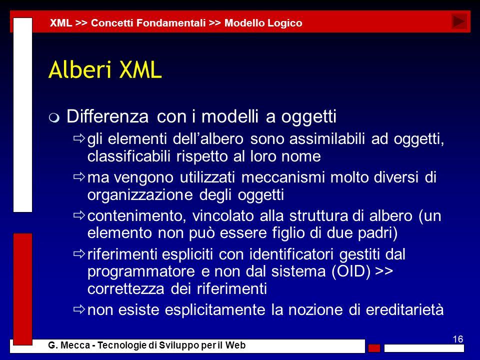 Alberi XML Differenza con i modelli a oggetti