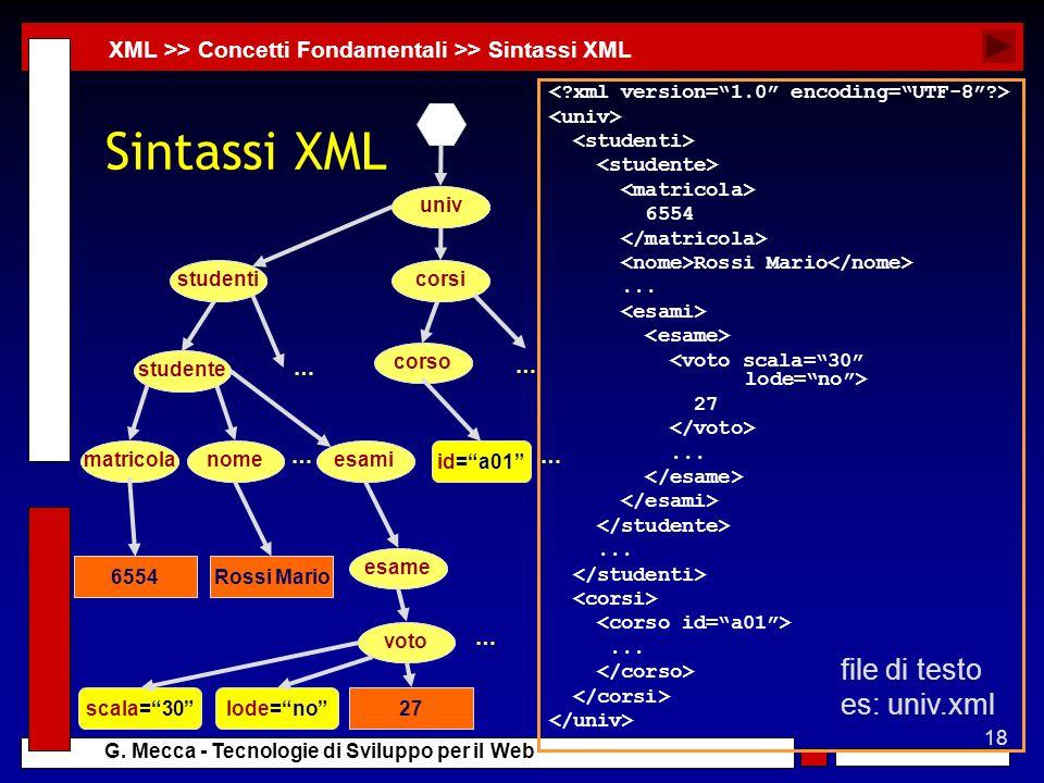 Sintassi XML file di testo es: univ.xml