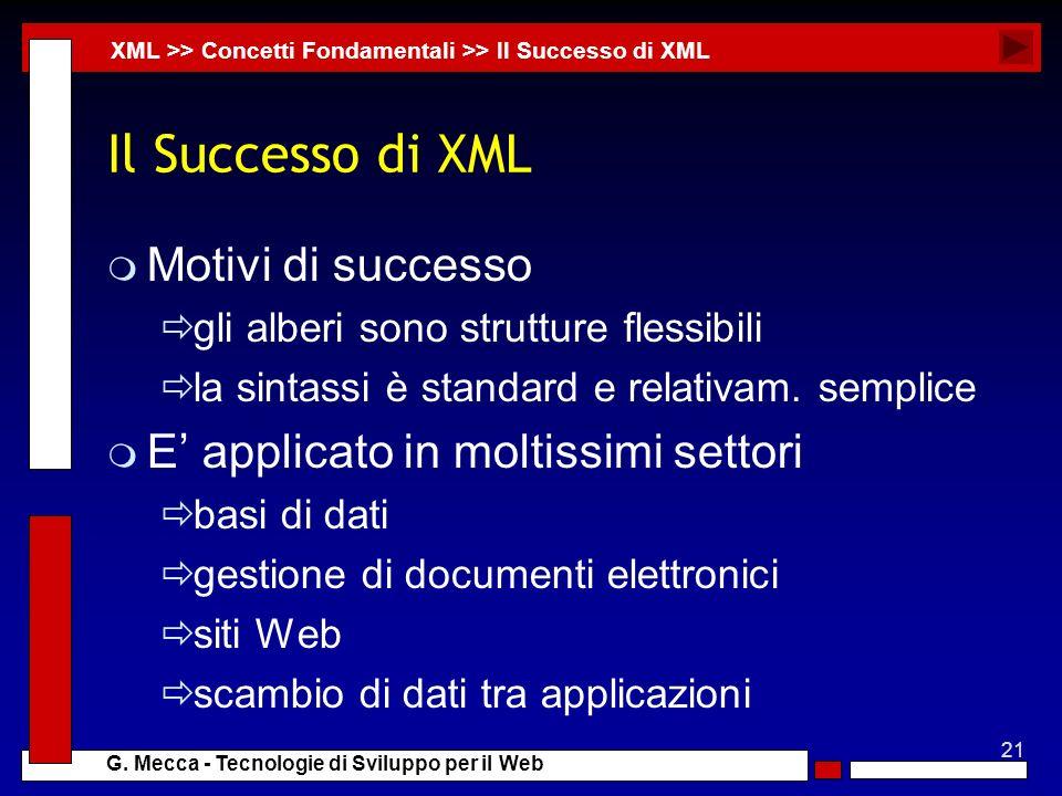 Il Successo di XML Motivi di successo